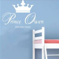 Personalised Prince Boys  ~ Wall sticker / decals